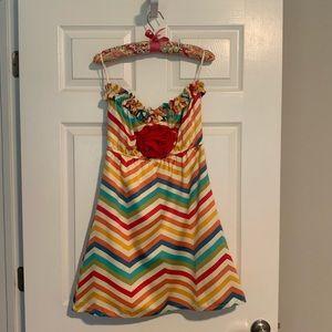 Judith March Chevron Multi-Color Strapless Dress